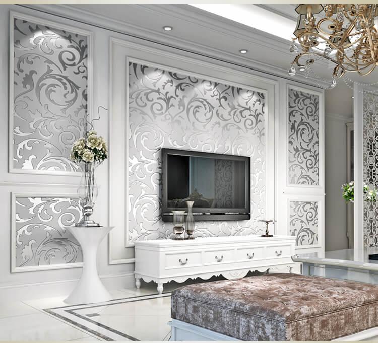 Giấy dán tường hoa móc trắng cổ điển 3D299 phòng khách